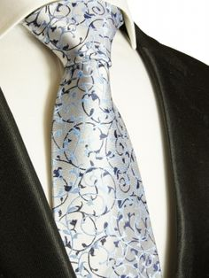 Paul Malone Shop - Silver blue necktie XL TIE 100% SILK by Paul Malone 907