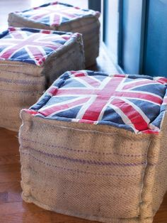 Repurposed Import-Export Packaging Repurposed coffee bean and rice sacks are commonly used to make eco-conscious pillows, bags and framed art. A similar idea with nautical style uses discarded import-export packaging as upholstery fabric. The three occasional ottomans seen here are made from a combination of Union Jack fabric and recycled burlap sacks.
