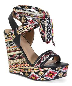 Take a look at this Bamboo Black & Pink Geometric Strappy Charade Wedge today!