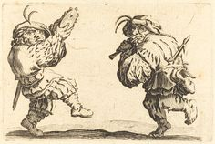 Dancers with Flute and Tambourine | Jacques Callot, Dancers with Flute and Tambourine (ca. 1622)