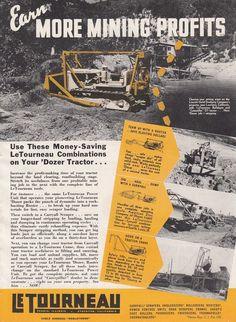 1940 Letourneau Bulldozer Caterpillar D7 Ad Lincoln Gold Dredging Co Lewiston CA