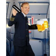 Hey! This Halloween how about dressing up as Steven Slater, the flight attendant who went nuts, cussed out the passengers, grabbed a beer and exited the plane on the escape slide?  The Disgruntled Flight Attendant became a folk hero over night after his tirade. Maybe not a hero, but I'm pretty sure you will be real popular in this costume. This costume kit includes a navy blue jacket, matching pants, dickie and a beer stein. Add a censored sign, a badge and a band-aid to complete the look.