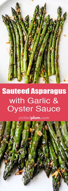 This is a simple and delicious sauteed asparagus recipe with garlic and ginger. It takes less than 10 minutes to make in a pan and is packed with Asian flavors! This is one of my best side dishes for dinner because it's easy and pairs with just about anything. #vegetarianrecipes #asparagus #sidedish | pickledplum.com