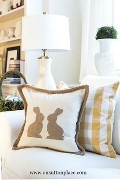 DIY Burlap Easter Bunny Pillow | Super simple home decor project, perfect for Spring for decorating via onsuttonplace.com @adrake606
