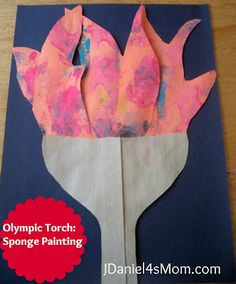 Sponge Painting a Olympic Torch #London2012 #Olympics #spongepainting
