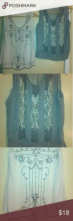 Party 🎉 tops bundle of 2 art deco style Amazing tops. With flitters and beads. Colors creams and Grey.  I am selling bothering of them. Forever 21 Tops Tank Tops