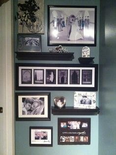 Narrow hallway collage. Add shelves for a 3D look