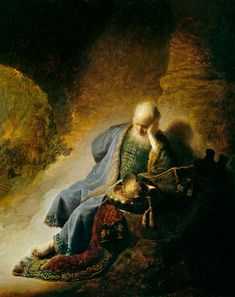 The prophet St Jeremiah  mourns over the Fall of  Jerusalems. Rembrandt van Rijn.