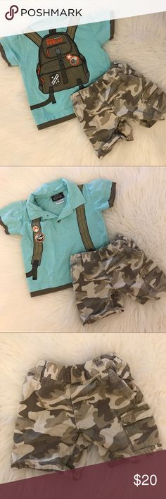 Special Forces Pack Polo & Camo Shorts 18M So so so cute. My son only had the chance to wear this a few times before he outgrew it. Love this so much. No flaws. Great condition. Both are sized 18M. No trades. Bundle for discount. Matching Sets