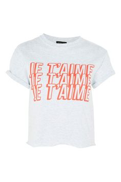 Shop for 'Je Taime' Slogan Crop T-Shirt by Topshop at ShopStyle. T-shirt Crop, Crop Top Und Shorts, T Shirt And Shorts, Crop Shirt, Petite T Shirts, Petite Tops, Crop Top Et Short, Long Sleeve Crop Top, Topshop