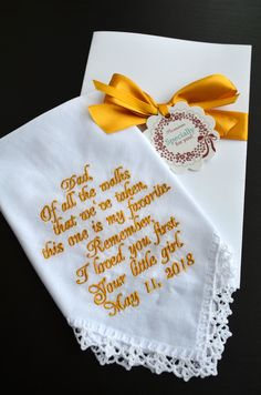 Father of the Bride gifts for father Embroidered personalized wedding Dad handkerchief Custom hankie for Dad wedding Gift for dad from Bride http://etsy.me/2odC66a #weddings #fathersday #gold #fatherofthebride #bridegifts #giftsforfather #embroidered #personalized
