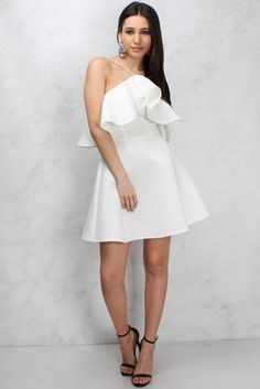 White Cold Shoulder Frill Skater Dress