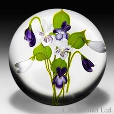 Paul Stankard glass   Paul Stankard 1978 white and purple violets glass paperweight.
