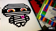 Handmade Pixel Art - How To Draw a Kawaii Mummy by Garbi KW #Halloween Modele Pixel, Crafty Hobbies, Pixel Drawing, Halloween Beads, Cute Kawaii Drawings, Minecraft Pixel Art, Doodle Inspiration, Melting Beads, Sketches