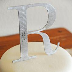 metal monogram cake topper (by juliethefish designs)