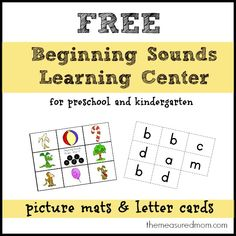 Free beginning sounds learning center from the measured mom - Another free beginning sounds learning center (set 3 plus links to sets 1 & 2)