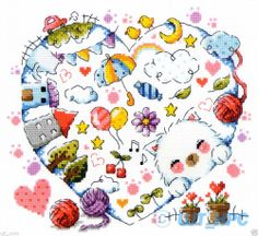"""The Kitten village"" Counted cross stitch chart.(pattern leaflet)"