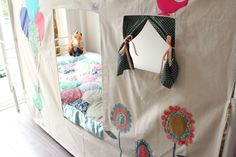 Customer review for this tent...I adore this tent! Its of great quality and is so cute. Measurements fit pretty well for the Pottery Barn Kids Fillmore bunk bed set as well!!  This listing is for a fabric panel that ties onto the frame of your bunkbed. This fits the IKEA Svarta/Tromso bed really well, but will also fit other beds as it ties into place.  This panel creates a tent in the bottom bunk providing lots of fun and imaginative game and roll play within the bed - will it be a house…