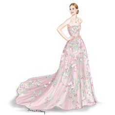Elle Fanning at the Cannes Film Festival 2016 wearing Zuhair Murad | Illustrated by Draw A Story
