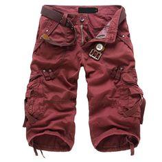 NEW Military Cargo Pants Multi-pocket red 31 yards Capri pants