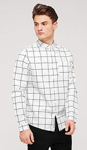 Checked cotton shirt in white