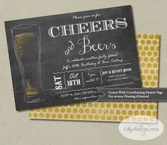 Cheers & Beers Chalkboard Invitation Birthday by ShySocialites