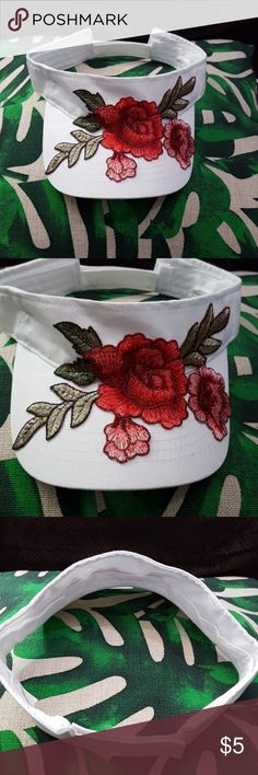 Embroidered Rose Visor White visor with a velcro closure on the back. Red and pink rose embroidered patch on the front. It was intended for a vacation but it was never used. Will go perfectly with the upcoming spring and summer months! Accessories Hats