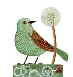Bird No17 by Geninne on Etsy, $30.00  One more fresh fun bird for spring. Love the dandelion.