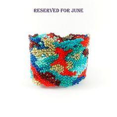 RESERVED  for JUNE  Freeform Seed Bead Bracelet-Wide by Galiga