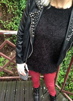 Rock, red and spikes outfit