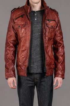 Brown Faux Leather Jacket with Knit Collar / Projek Raw