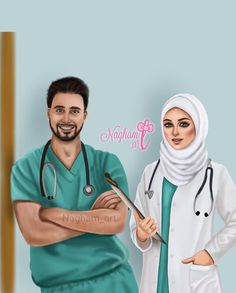 U and me.... Couples Musulmans, Muslim Couples, Anime Couples, Whatsapp Dp, Relationship Goals Tumblr, Medical Wallpaper, Hijab Drawing, Nurse Art, Islamic Cartoon
