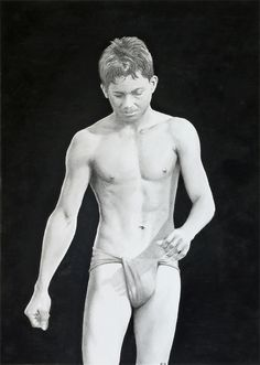 """""""Kushti Wrestler*; mixed media (ink, charcoal & graphite) by me, Dennis Candy; 20 x 28 cms."""