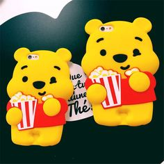 Cute New cartoon Popcorn winnie pooh silicone soft case cover for iphone 6S plus #UnbrandedGeneric