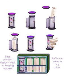 Tissue dispenser designed for purse.