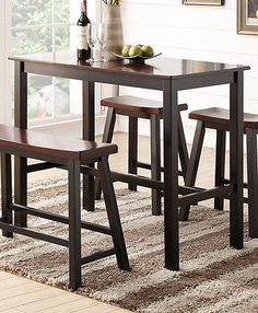 details about espresso wooden rectangular counter height dining kitchen table high bench stool