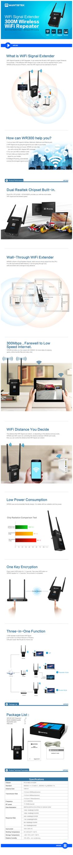 MantisTek™ WR300 300Mbps dual 5dBi Wireless WiFi Repeater Network Router Extender Sale - Banggood.com