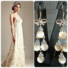 Charlie Brear Wedding Dress  BrideIstanbul Earrings