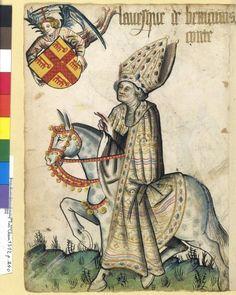 Evêque, Petit armorial équestre de la Toison d'or MS Clairambault 1312, Fol. 240, ~1460-70