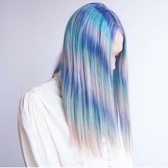 For spring via brit + co tie dye hair, dyed hair, ombre hair, pastel ha Color Your Hair, Hair Dye Colors, Tie Dye Hair, Curly Hair Styles, Dyed Hair Pastel, Pastel Blue, Beautiful Haircuts, Look Girl, Dyed Hair