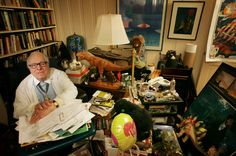Ray Bradbury/ the comfortable clutter on the outside reflects the creative genius on the inside.