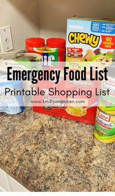 Check out this Emergency Food List with what foods to buy during the Coronavirus outbreak. This printable shopping list has non perishable foods and shelf stable foods that will last through a quarantine. Emergency Preparedness Food, Emergency Food Storage, Emergency Food Supply, Emergency Preparation, Emergency Supplies, Survival Prepping, Survival Food List, Survival Gadgets, Survival Shelter