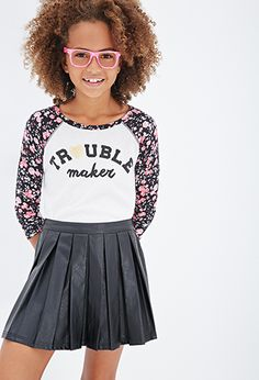 Trouble Graphic Floral Raglan Tee (Kids) | FOREVER21 girls - 2000081459
