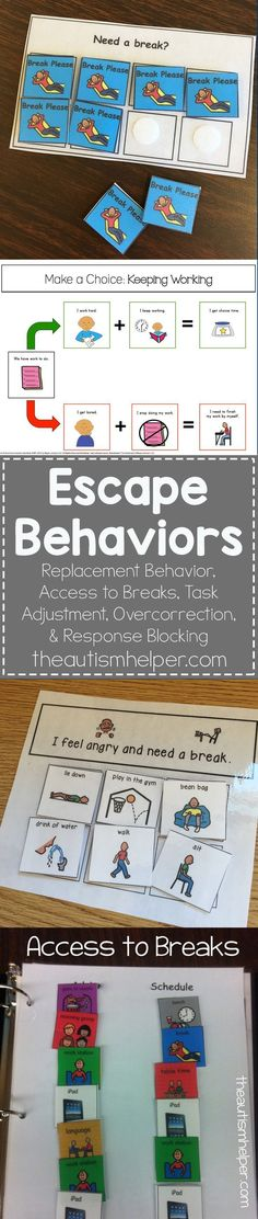 Escape Behaviors Many children (with & without autism) have misbehaviors that are used to get out of work. We look at escape behaviors & ways [. Autism Activities, Autism Resources, Aba Therapy Activities, Aba Therapy For Autism, Autism Classroom, Special Education Classroom, Classroom Behavior Chart, Preschool Behavior, Behavior Charts