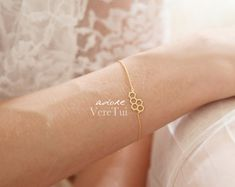 Honeycomb Hexagon Honey Bee Bracelet in Gold by AdoreVeretui