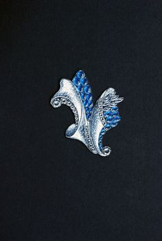 Drawing of a blue and white brooch with two stylized scrolls American, 1930s–1950s.