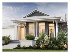 Explore our range of award winning home designs here. Choose your dream home design now with Dale Alcock. Available in Perth or the South-West. Exterior Color Schemes, Exterior House Colors, Interior Exterior, Exterior Design, Hamptons Style Homes, Hamptons House, House Roof, Facade House, Dream Home Design