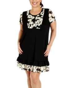 Look what I found on #zulily! Black & White Blossom-Panel Shift Dress - Plus by Aster #zulilyfinds
