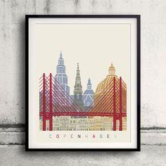 Copenhagen skyline poster  Fine Art Print Glicee by Paulrommer