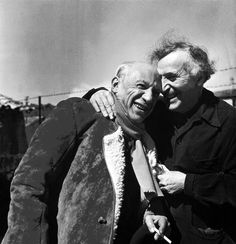 """blumecaro: """" Pablo Picasso and Marc Chagall, 1955, Provence-Alpes-Cote d'Azur region, France. Photography by Philippe Halsman. """""""